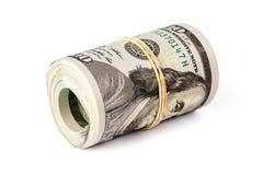 Un rotolo di cento banconote in dollari isolate Immagini Stock Libere da Diritti