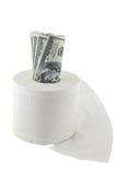 Un rotolo di cento dollari in una carta igienica Fotografia Stock
