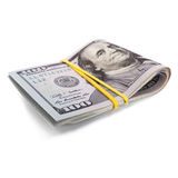 Un rotolo di 100 dollari della fattura Fotografia Stock