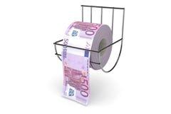 Un rotolo di 500 fatture degli euro Fotografia Stock Libera da Diritti
