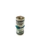 Un rotolo di 100 fatture del dollaro Fotografie Stock