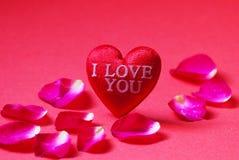 Un rouge en forme de coeur avec je t'aime et pétales de rose sur le fond rouge Photographie stock libre de droits
