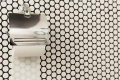 Un rouleau blanc de papier hygiénique mou accrochant d'une manière ordonnée sur un support moderne de chrome sur un mur léger de  Photo stock