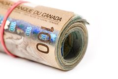 Un rouleau de dollars canadiens Image stock