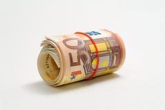 Un rouleau de 50 euro factures Images libres de droits