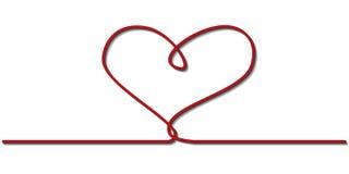 Un ruban rouge sous forme de coeur Images libres de droits