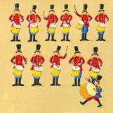 Un rullo del tamburo di dodici batteristi Immagini Stock Libere da Diritti