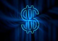 Un símbolo del dólar en neón azul con el fantasma ligero irradia Fotografía de archivo