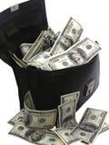 Un sac complètement des dollars d'argent liquide Image libre de droits