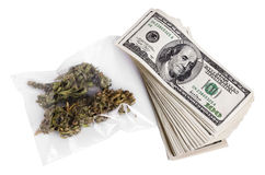 Marijuana & contanti Fotografie Stock