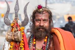 Un Sadhu hindú en el Kumbha Mela, la India fotos de archivo libres de regalías