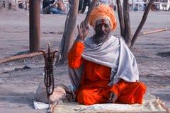 Un sadhu a Kumbh Mela 2013 Immagini Stock Libere da Diritti