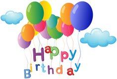 Un saludo del feliz cumpleaños con los globos coloridos Fotos de archivo libres de regalías
