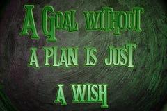 Un but sans plan est juste un concept de souhait image stock