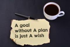 Un but sans plan est juste un souhait images libres de droits