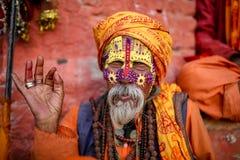 Un santo o un sadhu hindú fotos de archivo