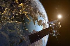 Un satélite que está en órbita la tierra con las ciudades iluminadas en la noche ilustración del vector