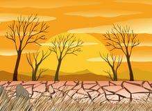 Un scence de désert de sécheresse illustration de vecteur
