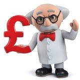 Un scientifique fou fou tenant un symbole monétaire BRITANNIQUE de livres sterling