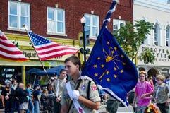 Le scout et l'Indiana énoncent le drapeau photographie stock libre de droits