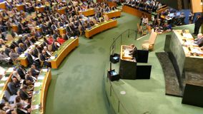 UN Secretary General Ban Ki-moon. At the opening of the 71st session of the United Nations General Assembly in New York stock video