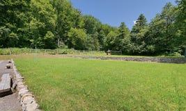 Un secteur décoratif large avec un vert a sans à-coup équilibré la pelouse contre le contexte des bancs et une pergola en bois da Image libre de droits