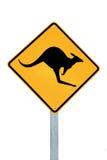 Un segnale di pericolo Australia del canguro Fotografia Stock