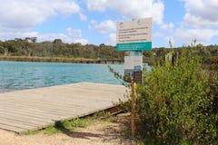 Un segno che avverte per non nuotare o non mangiare i morti o pesce di morte dovuto acido Fotografia Stock Libera da Diritti