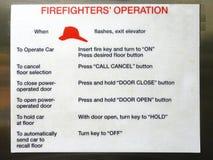 Un segno che descrive il metodo di funzionamento che i combattenti di fuoco dovrebbero usare immagini stock libere da diritti