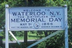 Un segno che legge il benvenuto del ½ del ¿ del ï a Waterloo N Y ? Immagini Stock