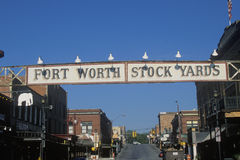 Un segno che legge le iarde di riserva di Fort Worth fotografia stock