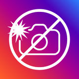 Un segno che proibisce fotografare con un flash su un fondo colorato Colpo editabile Immagini Stock