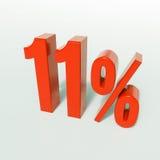 Un segno da 11 percentuale rosso Fotografie Stock