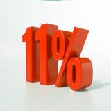 Un segno da 11 percentuale rosso Fotografia Stock