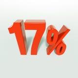 Un segno da 17 percentuali rosso Fotografie Stock Libere da Diritti