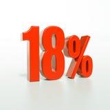 Un segno da 18 percentuali rosso Fotografie Stock Libere da Diritti