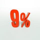 Un segno da 9 percentuali rosso Fotografie Stock