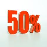 Un segno da 50 percentuali rosso Fotografie Stock