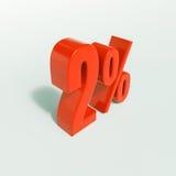 Un segno da 2 percentuali rosso Fotografie Stock