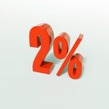Un segno da 2 percentuali rosso Fotografia Stock