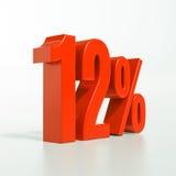 Un segno da 12 percentuali rosso Fotografia Stock Libera da Diritti
