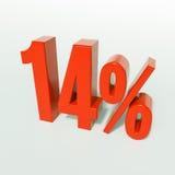 Un segno da 14 percentuali rosso Fotografie Stock