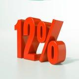 Un segno da 12 percentuali rosso Fotografie Stock