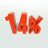 Un segno da 14 percentuali rosso Fotografia Stock Libera da Diritti
