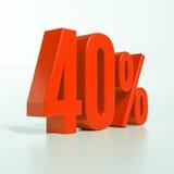 Un segno da 40 percentuali rosso Fotografie Stock Libere da Diritti
