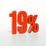 Un segno da 19 percentuali rosso Immagini Stock