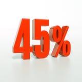 Un segno da 45 percentuali rosso Fotografia Stock Libera da Diritti