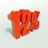 Un segno da 12 percentuali rosso Fotografie Stock Libere da Diritti