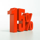 Un segno da 15 percentuali rosso Fotografia Stock