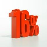 Un segno da 16 percentuali rosso Fotografia Stock